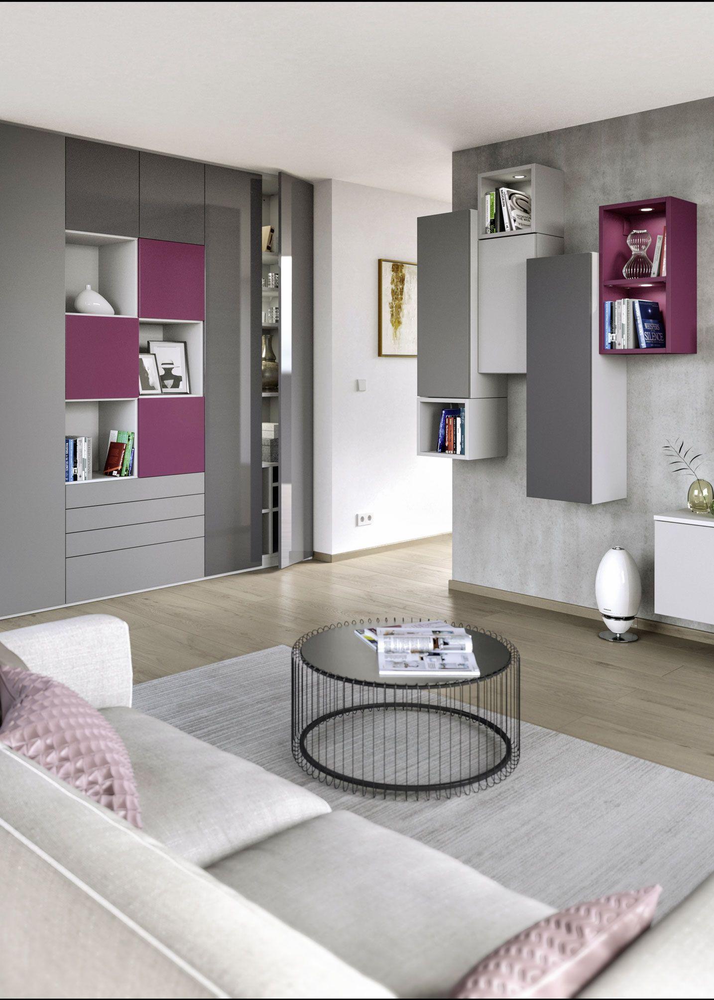 Bei CABINET ist nahezu alles möglich: Ein maßgefertigter Einbauschrank samt passenden Hängeschränken für das Wohnzimmer.