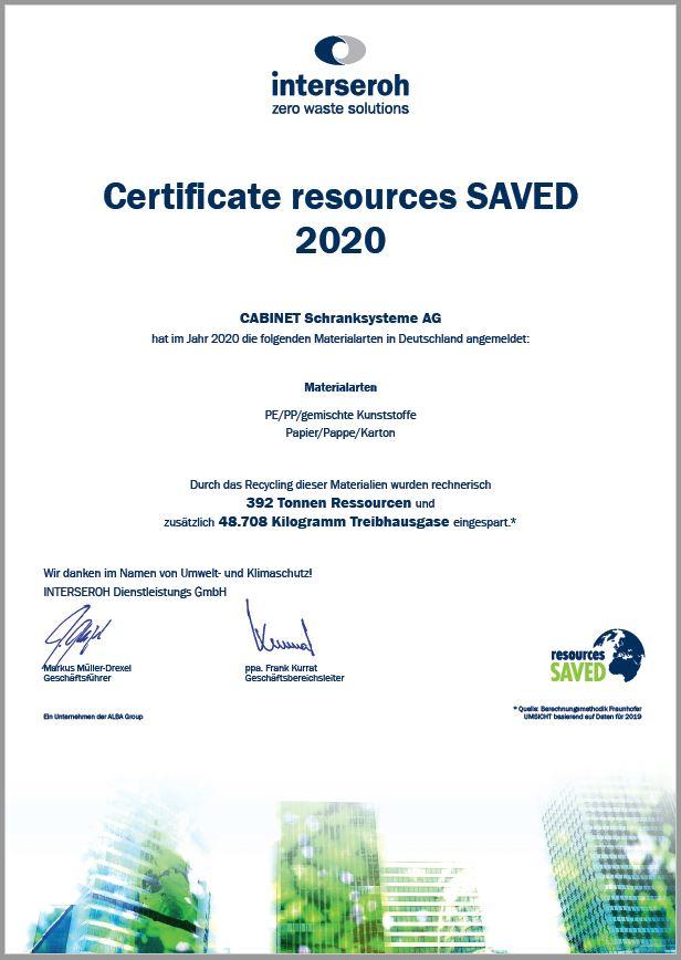 Zertifikat Interseroh