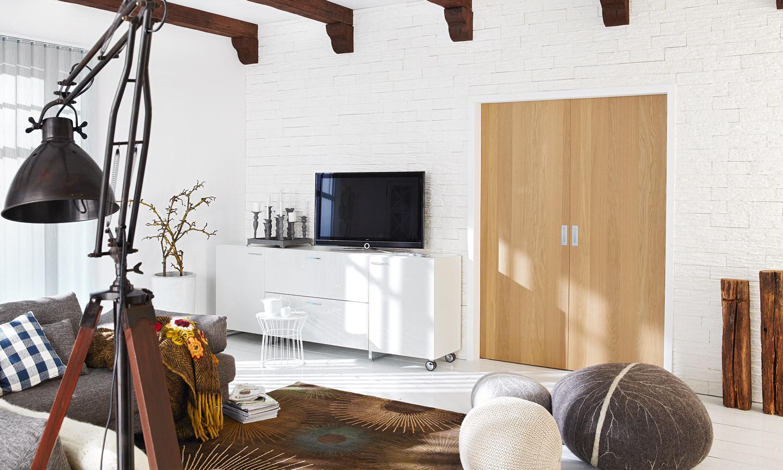 Raumteiler ohne Bodenschienen in Eiche Natur
